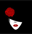 stylized woman with hat and rose vector image vector image