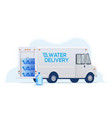 water delivery truck for water delivery service vector image vector image