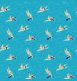 wavy sea swimming woman positive flat pattern vector image