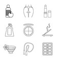 wellbeing icons set outline style vector image