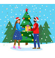 winter holiday card couple with present vector image vector image