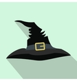 Witch hat flat icon with shadow vector image vector image