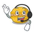 with headphone macarons banana in shape a cartoon vector image vector image