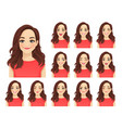 woman expressions set vector image vector image