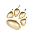 golden 3d paw print of animal logotype or vector image