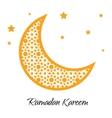 Ramadan Kareem moon with muslim ornament greeting vector image