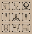 Beauty line icons set vector image