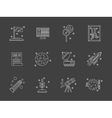 White flat line space research icons set vector image