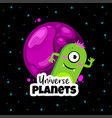 universe planets space concept with cute ufo vector image