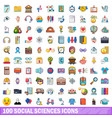 100 social sciences icons set cartoon style vector image vector image