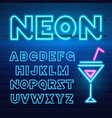 80 s blue neon retro font futuristic chrome vector image