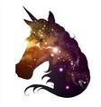 artistic silhouette fantasy animal unicorn vector image