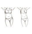 before after collage with female body weight loss vector image