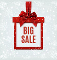 Big sale square banner in form of gift vector image