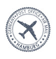 black stamp with hamburg germany and aircraft vector image vector image