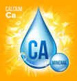 ca calcium mineral blue drop icon vitamin vector image