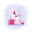 cartoon cute dog with dice vector image vector image