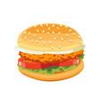 chicken burger tasty include cutlet tomato salad vector image