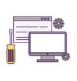 computer website support tool gears vector image