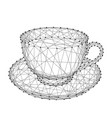 cup mug with coffee or tea on a saucer from vector image