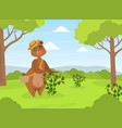 cute brown bear in straw hat collecting vector image vector image