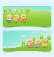 easter chicks in cracked eggs on slope banners vector image vector image