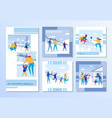 family winter recreation and games outdoor set vector image vector image
