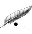 feather pen blotter vector image vector image