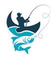 fishing design fisherman catches from the boat on vector image vector image