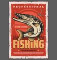 fishing hook pike fish and fisherman tackle vector image vector image