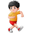 funny cartoon boy sticking vector image