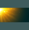 glowing sun rays background from top left corner vector image vector image