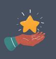 golden star in human hand vector image vector image