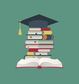 graduation cap on book stack huge pile vector image