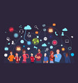 group of people over social media icons background vector image vector image