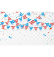 hanging bunting flags for american holidays blue vector image vector image