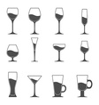 icon set of utensil Wine beer martini whiskey vector image vector image