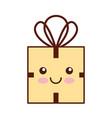 kawaii christmas gift box celebration decoration vector image vector image