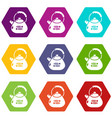 kettle metal icons set 9 vector image vector image