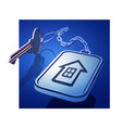 keys with a keychain on a chain with a house icon vector image