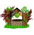 landscape design with wooden decoration vector image