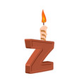 letter z birthday font letter and candle vector image vector image