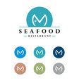 m letter fish logo template design eps 10 vector image vector image
