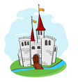 medieval castle cartoon colored doodle vector image