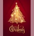 merry christmas shining gold christmas tree vector image vector image