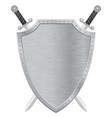 metal shield with crossed swords vector image vector image