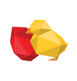 origami chicken with red egg vector image vector image