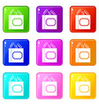 paper clips box icons 9 set vector image vector image