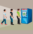 people stand at the cash machine vector image