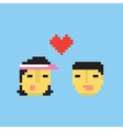 Pixel art style asian couple in love vector image vector image